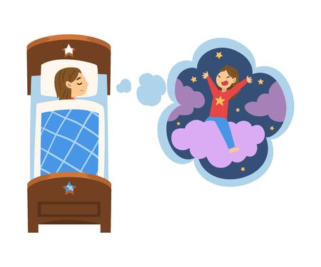 Cute Girl Sleeping in Bed and Dreaming About Girl Riding Cloud, Kid Lying in Bed Having Sweet Dreams Vector Illustration on White Background.