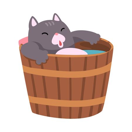 Cat Taking Japanese Hot Spring Bath, Funny Pet Animal Enjoying Spa Procedure in Wooden Barrel Vector illustration on White Background.