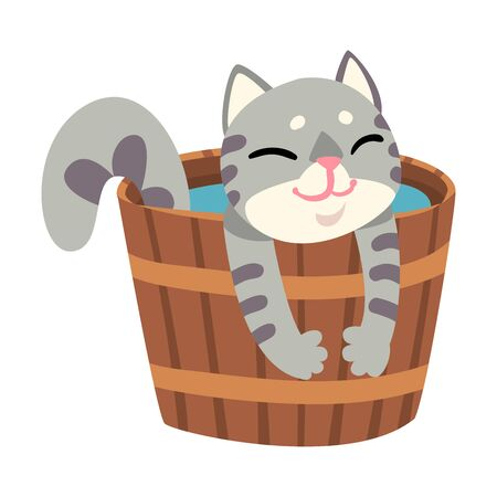 Grey Cat Taking Japanese Hot Spring Bath, Funny Pet Animal Enjoying Spa Procedure in Wooden Barrel Vector illustration on White Background.