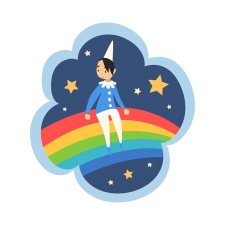Kid Dreams, Sweet Dream Cloud with Cute Boy Sitting on Rainbow, Childhood Fantasy Vector Illustration on White Background. Ilustração