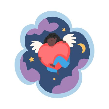 Kid Dreams, Sweet Dream Cloud with Cute Angel with Red Heart in Starry Sky, Childhood Fantasy Vector Illustration on White Background.  イラスト・ベクター素材