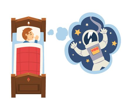 Cute Boy Sleeping in Bed and Dreaming About Astronaut in Flying in Outer Space, Kid Lying in Bed Having Sweet Dreams Vector Illustration on White Background.