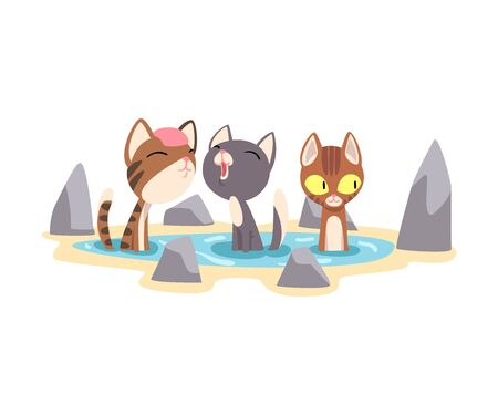 Three Funny Cats Taking a Bath Outdoor, Cute Pet Animals Enjoying Spa Procedure Vector illustration on White Background. 矢量图像