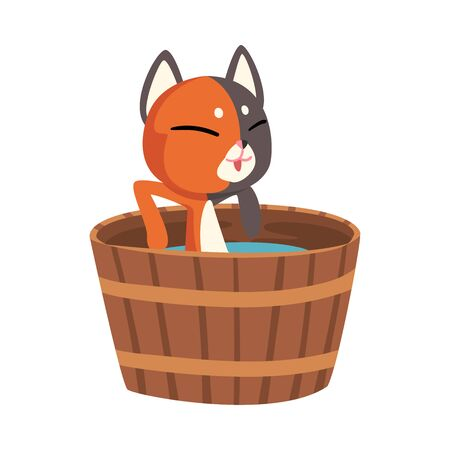 Cat Taking Japanese Hot Spring Bath, Funny Pet Animal Enjoying Spa Procedure in Wooden Barrel, Onsen Vector illustration on White Background.