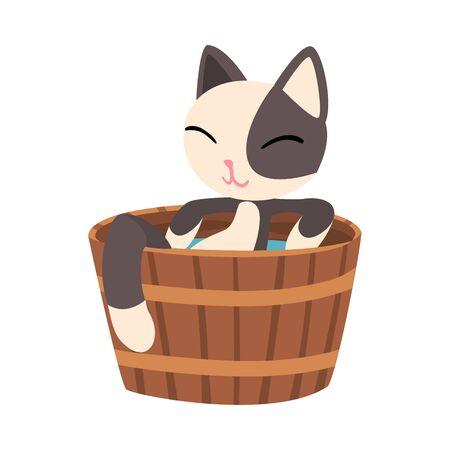 Lovely Cat Taking Japanese Hot Spring Bath, Funny Pet Animal Enjoying Spa Procedure in Wooden Barrel, Onsen Vector illustration on White Background. 矢量图像