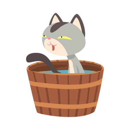 Funny Cat Taking Japanese Hot Spring Bath, Adorable Pet Animal Enjoying Spa Procedure in Wooden Barrel, Onsen Vector illustration on White Background.
