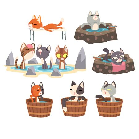 Funny Cats Taking an Onsen Bath Set, Cute Pet Animals Enjoying Japanese Hot Spring Bath Vector illustration on White Background. 矢量图像