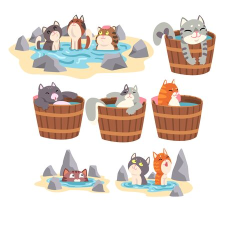 Funny Cats Taking Japanese Hot Spring Bath Set, Cute Pet Animals Enjoying Spa Procedures Vector illustration on White Background.