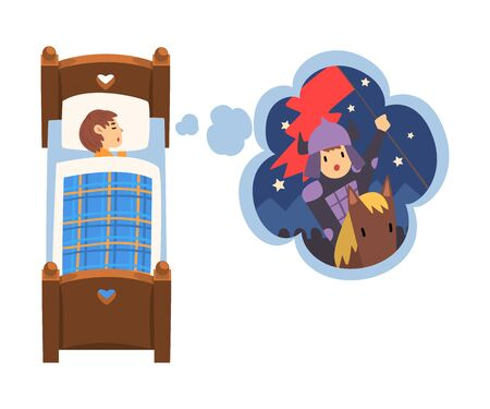 Cute Girl Sleeping in Bed and Dreaming About Knight Galloping on Horseback, Kid Lying in Bed Having Sweet Dreams Vector Illustration 向量圖像
