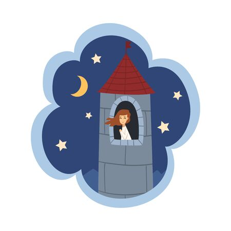 Kid Dreams, Sweet Dream Cloud with Girl Princess Sitting in Castle Tower, Childhood Fantasy Vector Illustration