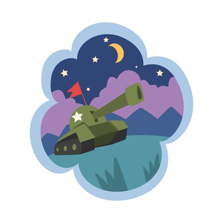 Kid Dreams, Sweet Dream Cloud with Military Tank, Childhood Fantasy Vector Illustration