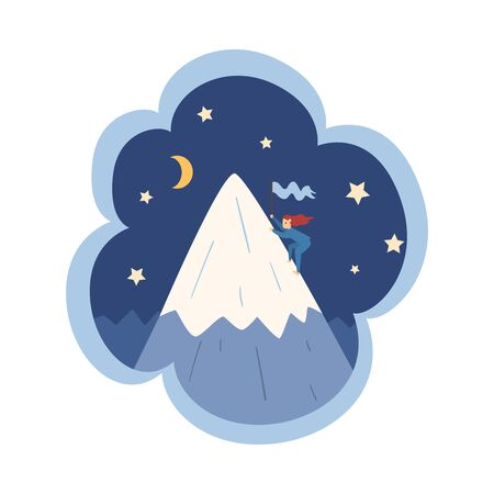 Kid Dreams, Sweet Dream Cloud with Cute Girl Mountaineering, Childhood Fantasy Vector Illustration