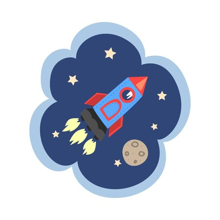 Kid Dreams, Sweet Dream Cloud with Rocket Flying in Space, Childhood Fantasy Vector Illustration