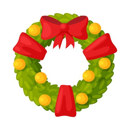 Christmas Wreath with Ribbons, Balls and Red Bow, Winter Holiday Symbol, Traditional Holiday Decoration Vector Illustration 向量圖像