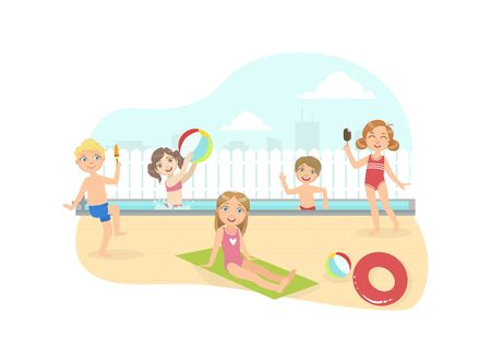 Happy Boys and Girls Swimming amd Having Fun on the Beach at Summertime Vector Illustration