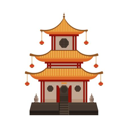 Traditional Chinese Building, Oriental Cultural Architecture Object Vector Illustration