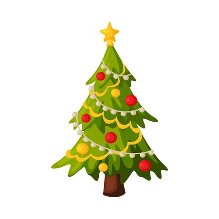 Christmas Fir Tree with Decorations, Traditional New Year Holiday Symbol Vector Illustration
