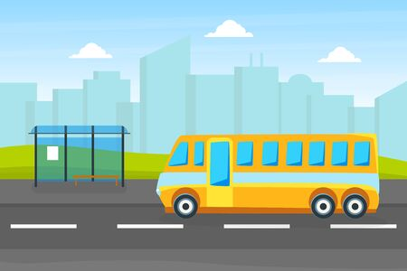 Yellow City Bus on a Bus Stop, Public Urban Transport on Background of City Landscape on Vector Illustration 向量圖像