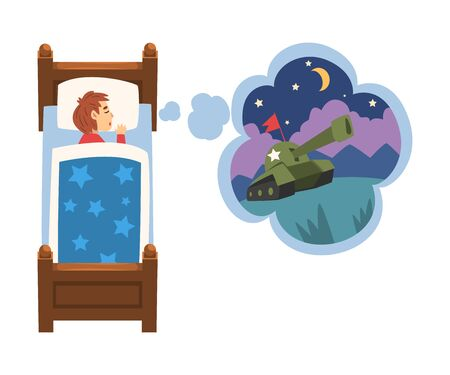 Cute Girl Sleeping in Bed and Dreaming About Military Tank, Kid Lying in Bed Having Sweet Dreams Vector Illustration 矢量图像
