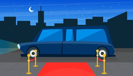 Luxury Limousine Car and Red Empty Event Carpet on Background of City Landscape Vector Illustration