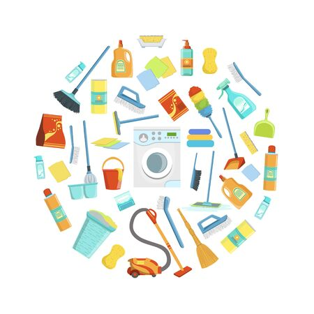 Cleaning Service Supplies Pattern of Round Shape, Housekeeping Equipment Vector Illustration, Web Design. Stock Illustratie