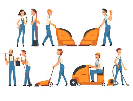 Cleaning Company Staff Collection, Professional Cleaning People Vacuuming, Washing, Sweeping, Mopping the Floor, Male and Female Workers Characters Dressed in Uniform Vector Illustration