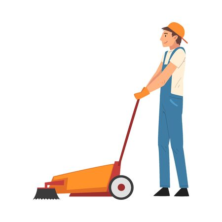 Professional Cleaning Man Using Floor Cleaning Machine, Male Worker Character Dressed in Blue Overalls and Rubber Gloves, Cleaning Company Staff Vector Illustration