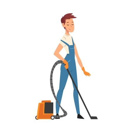 Professional Cleaning Man Vacuuming the Floor, Male Worker Character Dressed in Blue Overalls and Rubber Gloves, Cleaning Company Staff Vector Illustration