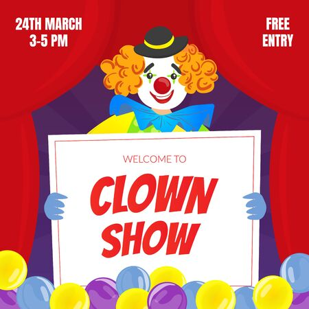 Clown Show Invitation Poster or Banner, Circus Performance Vector Illustration