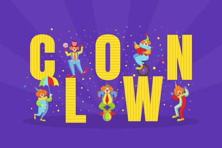 Clown Big Word and Funny Comedians Characters, Circus Performance Vector Illustration 向量圖像
