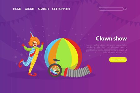 Clown Show Landing Page Template, Circus Performance Web Page, Mobile App, Homepage Vector Illustration