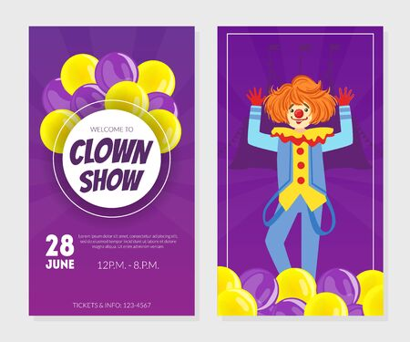 Clown Show Invitation Card, Poster or Banner Template, Circus Performance Vector Illustration