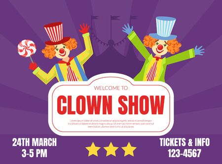 Welcome to Clown Show Invitation Poster or Banner, Circus Performance with Funny Clowns Vector Illustration