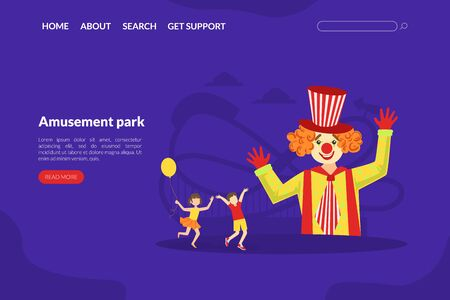 Amusement Park Landing Page Template, Circus Performance with Funny Clowns Web Page, Mobile App, Homepage Vector Illustration