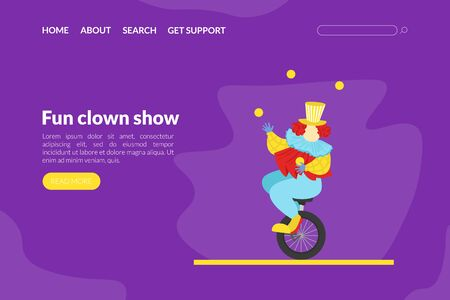 Fun Clown Show Landing Page Template, Circus Performance with Funny Juggling Comedian Web Page, Mobile App, Homepage Vector Illustration