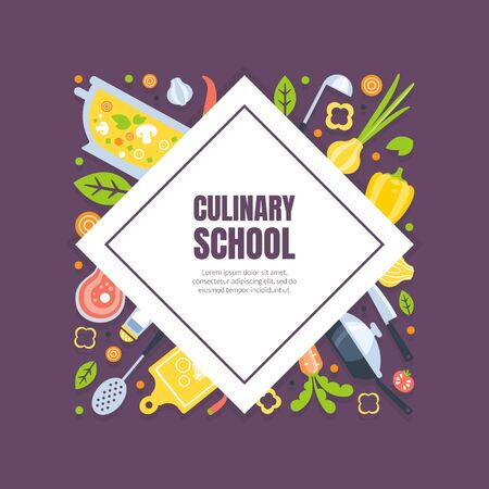 Cooking Class Banner Template, Culinary Courses or School Poster, Element Can Be Used for Brochure, Flyer, Certificate, Invitation Card Vector Illustration