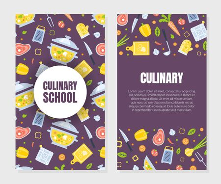 Cooking Class Card Template with Kitchen Utensils Seamless Pattern, Culinary Course o School Design Element Can Be Used for Banner, Brochure, Flyer, Certificate, Card Vector Illustration
