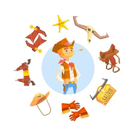 Cheerful Cowboy Sheriff Character, Wild West Attributes and Clothes Vector illustration in Cartoon Style. Vectores