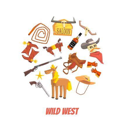 Wild West Symbols of Round Shape, Western Elements Vector illustration in Cartoon Style.