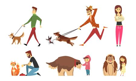 Cute Pets and their Owners Set, People Walking, Feeding, Caring and Stroking their Cats and Dogs Cartoon Vector Illustration Çizim