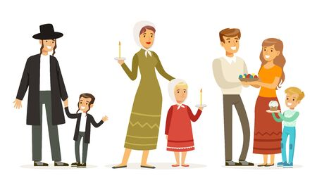 Families of Different Religions Collection, Parents and Children in Traditional Clothes Vector Illustration on White Background.