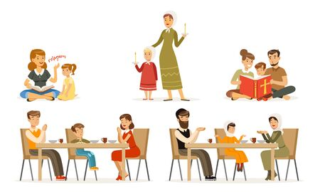 Happy Families of Different Religions Collection, Parents and Children in Traditional Clothes Reading Religious Books, Giving Thanks to God at Table Vector Illustration on White Background.