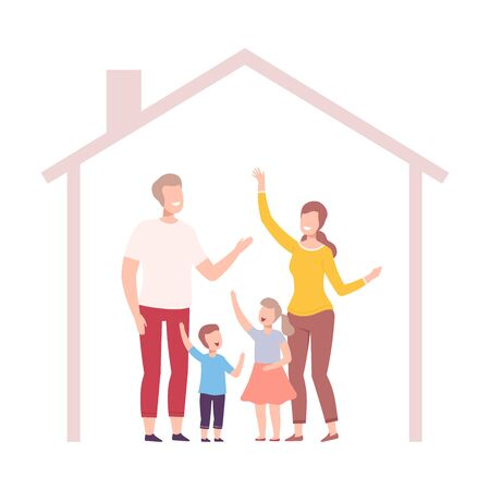 Mother, Father, Son and Daughter at Home, House Frame with Happy Family Inside Vector Illustration, Flat Style. Stock Illustratie