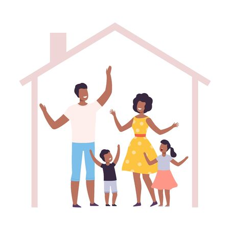Mother, Father and Their Kids at Home, House Frame with Happy African American Family Inside Vector Illustration, Flat Style.
