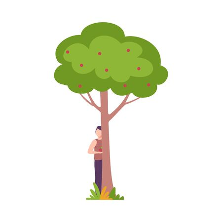 Young Man Standing Behind Apple Tree, Guy Peeking Behind Tree Trunk Vector Illustration, Flat Style.
