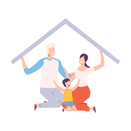 Mother, Father and Their Son at Home, House Frame with Happy Family Sitting Inside and Holding Up the Roof Vector Illustration, Flat Style. Stock Illustratie