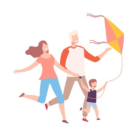 Happy Family Having Fun with Flying Kite, Mother, Father and their Little Son Launching Kite Vector Illustration, Flat Style.