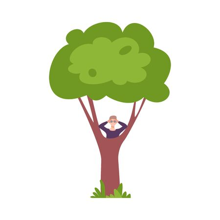 Young Man Hiding Behind Green Tree and Looking Through Binoculars Vector Illustration