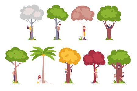 People Standing Behind Trees, Young Men and Women Hiding and Peeking Behind Tree Trunks Vector Illustration, Flat Style.