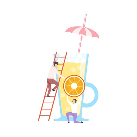 Tiny People Making Cocktail, Young Men Putting Slice of Orange to Big Glass with Juice and Umbrella, Cold Sweet Summer Drink Vector Illustration